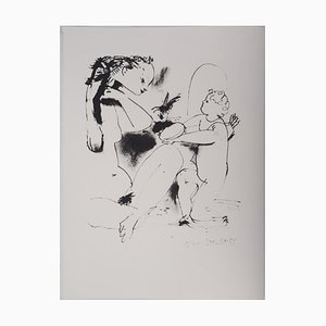 Vintage Woman and Cupid Lithograph after Pablo Picasso