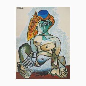 Lithographisches Plakat der Weinlese-Frau mit türkischer Kappe nach Pablo Picasso