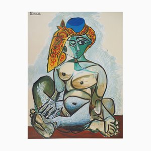 Vintage Woman with Turkish Cap Lithographic Poster after Pablo Picasso
