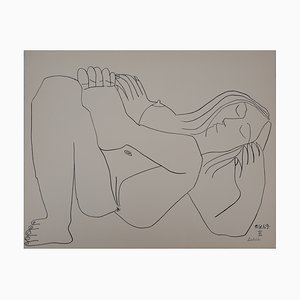 Vintage Nude Resting Lithograph after Pablo Picasso