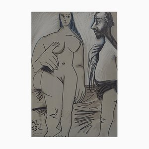 Vintage Painter and Model Lithograph after Pablo Picasso