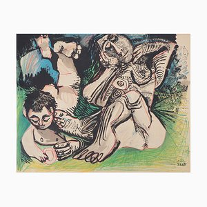 Vintage Woman and Boy Resting in a Garden Lithograph after Pablo Picasso