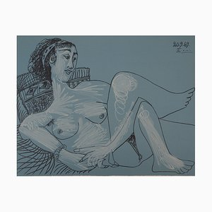 Vintage Seated Nude Lithograph after Pablo Picasso