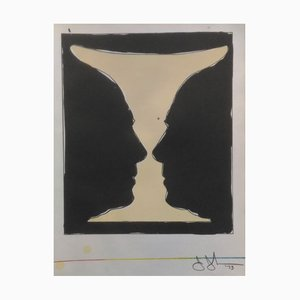 Cup Two Picasso Profiles Lithograph by Jasper Johns, 1973