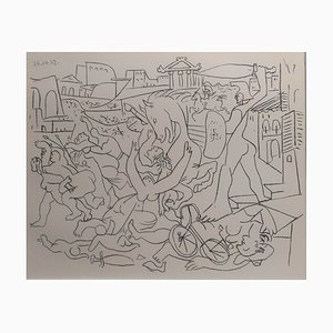 Litografía Rape of the Sabines vintage de Pablo Picasso