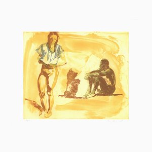 Beach Scene with Poodle Etching by Eric Fischl