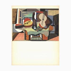 Litografía de mandolina y guitarra de Pablo Picasso, 1958