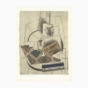 Flasche Vieux Marc Glas und Zeitung Lithographie nach Pablo Picasso