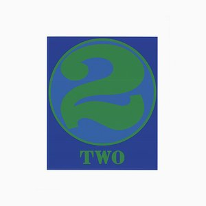Number Two Green and Blue Silk Screen by Robert Indiana, 1997