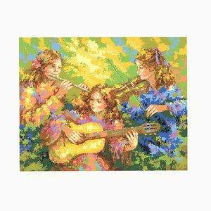Three Women Playing Music Silk Screen by Karin Schaefers, 1982
