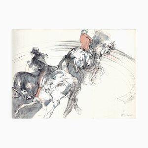 Vintage Two Cavaliers Lithographie von Claude Weisbuch