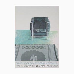Lithographie Corbusier et Tapis Offset d'après David Hockney