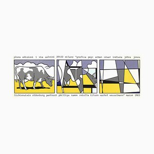 Cow Going Abstract Offset Lithograph by Roy Lichtenstein, 1985