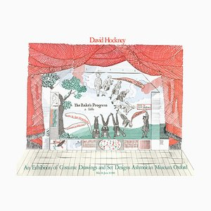 Stage Set Design from the Rake's Progress Lithograph by David Hockney, 1975