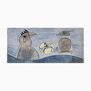 Litografía Composition vintage en azul de Max Ernst