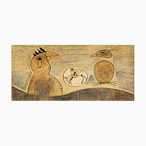 Litografía Composition vintage en ocre de Max Ernst