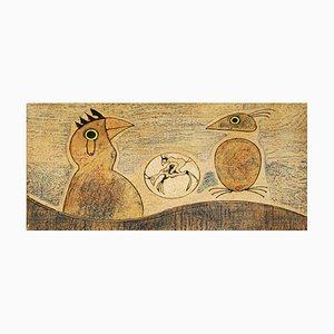 Vintage Komposition in Ocker Lithographie von Max Ernst