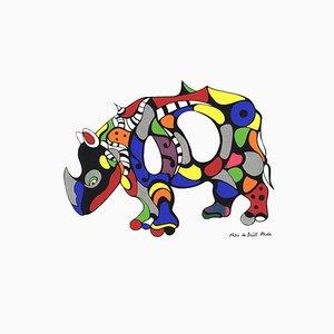 Rhinoceros Siebdruck nach Niki de Saint Phalle