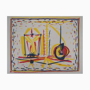 Lithographie Composition Cubiste avec Verre et Pomme par Pablo Picasso, 1946