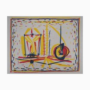 Litografía Composition cubista de vidrio y manzana de Pablo Picasso, 1946