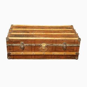 Baúl estadounidense de madera y cuero, años 20