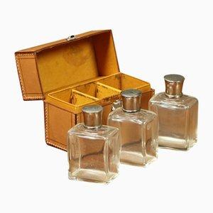 Leather Bottle Set, 1920s, Set of 3