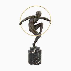 Art Deco Bronze Sculpture of a Nude Hoop Dancer by Marcel Andre Bouraine, 1930s