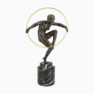 Sculpture Art Deco en Bronze d'un Danseur de Nu Hoop par Marcel Andre Bouraine, 1930s