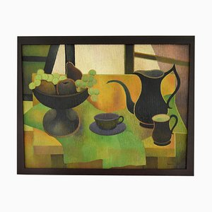 Mid-Century Painting Still Life with Black Coffee Pot and Fruit by Albert Labachot, 1976