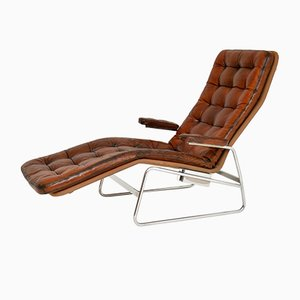 Swedish Leather Chaise by Sam Larsson for Dux, 1970s