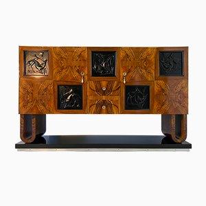 Italian Art Deco Walnut Briar Sideboard, 1930s