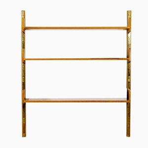 Vintage 1-Line Wooden Shelf with Variable Adjustable Shelves and Brass Details, 1960s, Set of 9