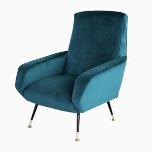 Vintage Italian Armchair in Petrol Velvet with Brass Feet, 1950s