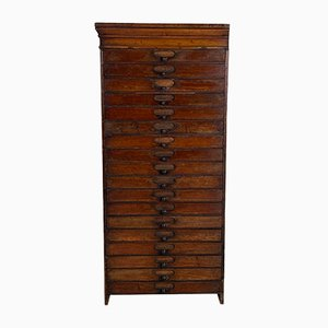 Vintage Dark Wood Bank of Drawers, 1930s