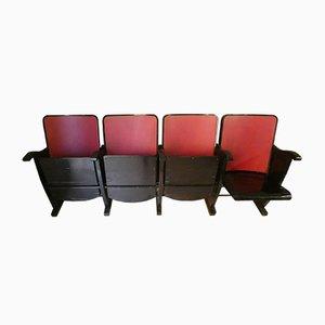 Banco reclinable italiano Mid-Century de 4 asientos de A. Pagnoni & Figli, años 60
