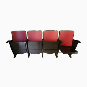 Mid-Century Italian Old Cinema Reclining 4-Seat Bench from A. Pagnoni & Figli, 1960s