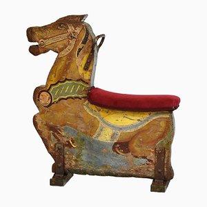 Wood & Velvet Fairground Merry Go Round Carousel Decorative Horse Seat No 9, 1930s