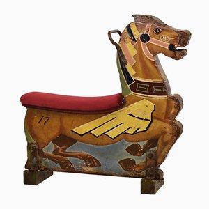 Wood & Velvet Fairground Merry Go Round Carousel Decorative Horse Seat No 12, 1930s