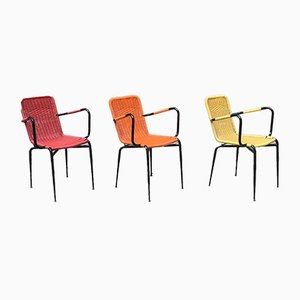 Italian Colored Stackable Outdoor Chairs, 1960s, Set of 3