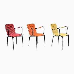 Sedie da esterni accatastabili colorate, Italia, anni '60, set di 3