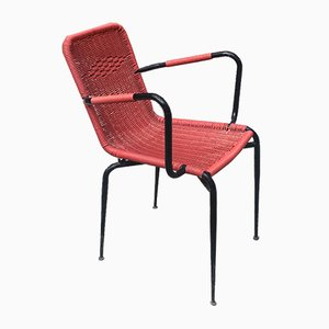 Italian Red Outdoor Scooby Chair, 1960s