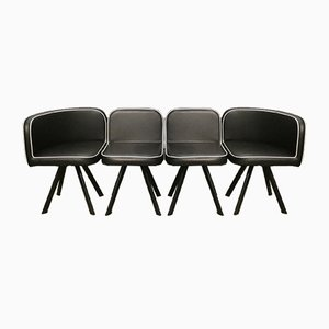 Black Vinyl Modular Mythical Paninari Seating Divanetto Set, 1980s, Set of 4