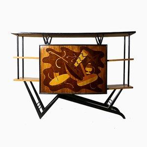 Mueble bar Mid-Century Modern musical de marquetería temática, Brasil, años 50