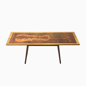 Mid-Century Modern Musical Theme Marquetry Coffee or Cocktail Table, Brazil, 1950s