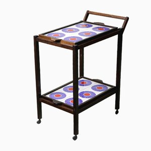 Mid-Century Modern Brazilian Tiled Tea-Cart with Removable Trays, 1960s