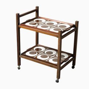 Mid-Century Modern Brazilian Tile and Hardwood Tea-Cart, 1960s