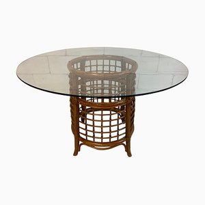 Vintage Rattan and Brass Dining Table