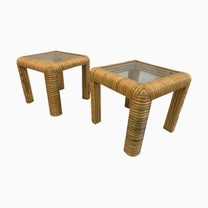 Mid-Century Rattan Split Reed End Tables, Set of 2