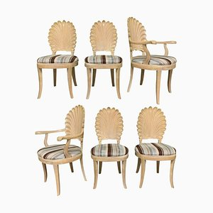 Vintage Italian Venetian Decorative Shell Back Dining Chairs, Set of 6