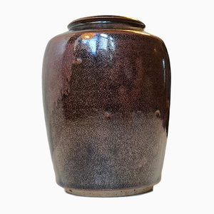 Danish Modern Ceramic Vase in Tenmoku Glaze by Merethe Bloch for Own Studio, 1970s
